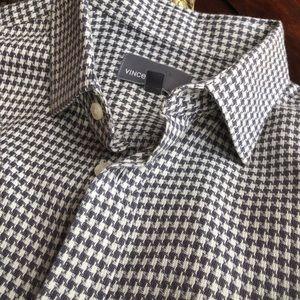 Vince houndstooth mens  L button up dress shirt